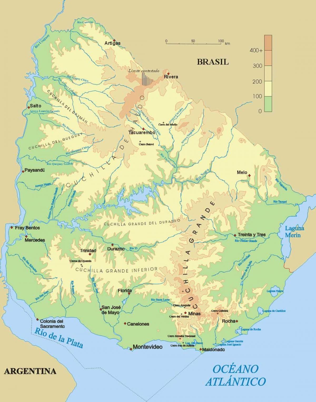 Physische Karte Von Uruguay Karte Der Physischen Uruguay South