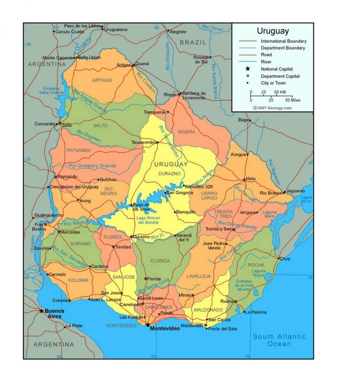 Uruguay Politischen Landkarte Karte Von Uruguay Die Politischen